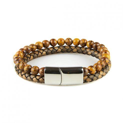 Bracelet pour homme composé d'une lanière de cuir tressé marron et de pierres fines naturelles.