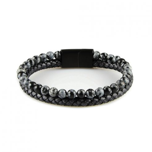 Bracelet pour homme composé d'une lanière de cuir tressé noir et de pierres d'obsidienne flocon de neige naturelles.