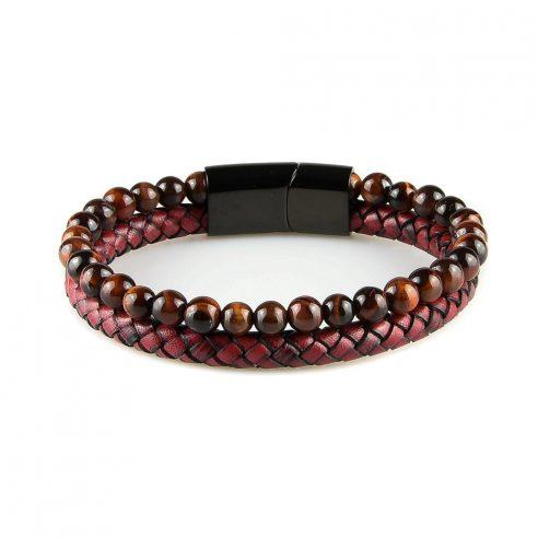 Bracelet pour homme composé d'une lanière de cuir tressé de couleur bordeaux et de pierres œil de tigre rouge.