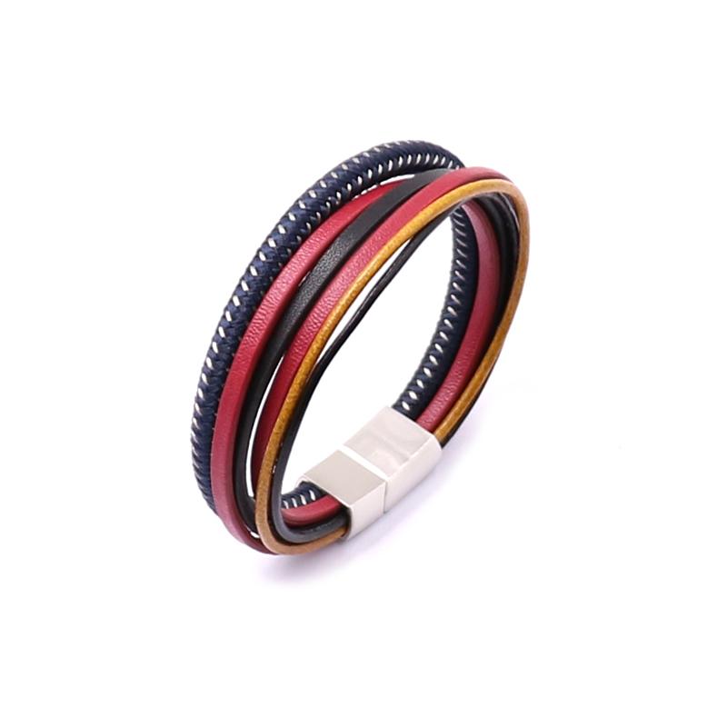 Bracelet pour homme composé d'e plusieurs lanières de cuir noir, bleu, rouge et ocre.