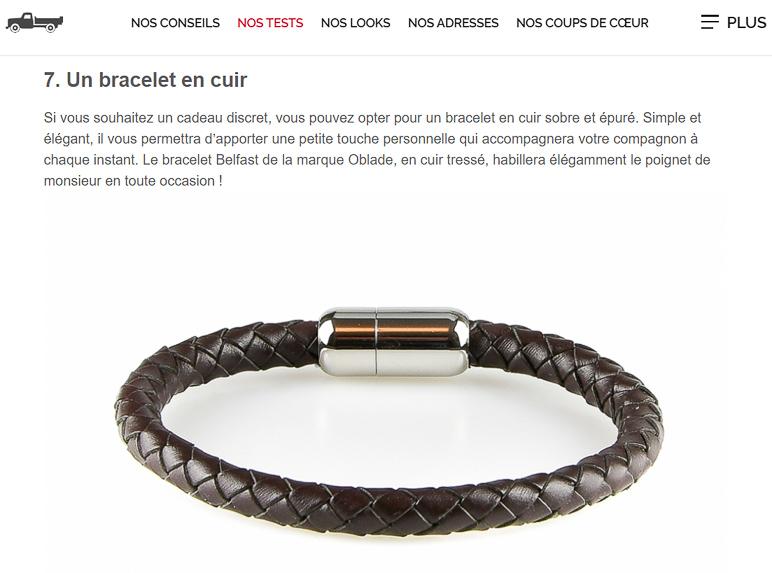 Bracelet en cuir tressé marron Praia
