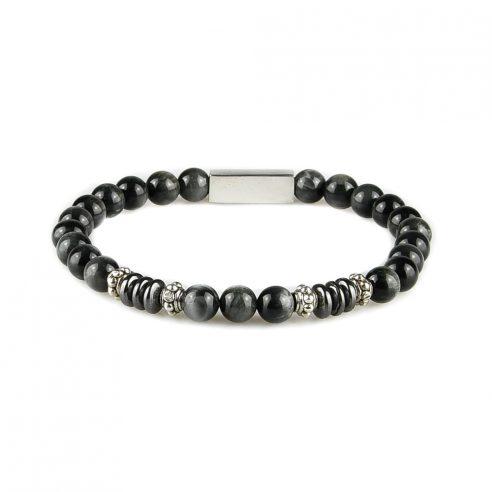 Bracelet homme en perles œil de faucon, disques d'hématite et pièces en argent 925. Perles de 6 mm.