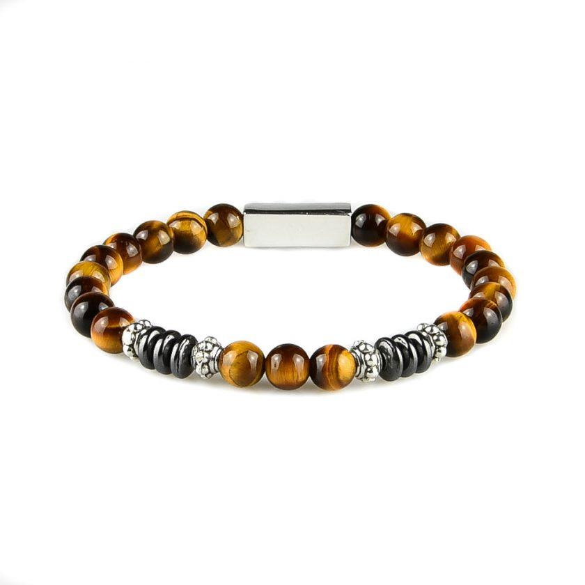 Bracelet homme en perles œil de tigre, disques d'hématite et pièces en argent 925.