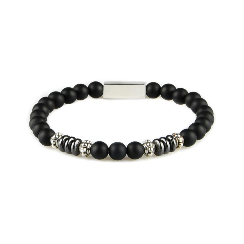Bracelet homme en perles d'onyx, disques d'hématite et pièces en argent 925. Perles de 6 mm.