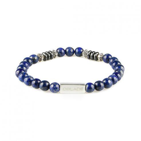 Bracelet homme en perles de lapis lazuli, disques d'hématite et pièces en argent 925.