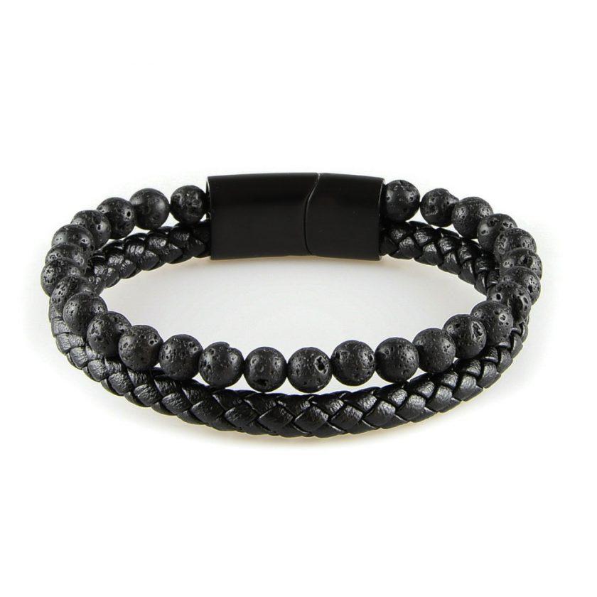 Bracelet pour homme composé d'une lanière de cuir tressé noir et de pierres de lave.