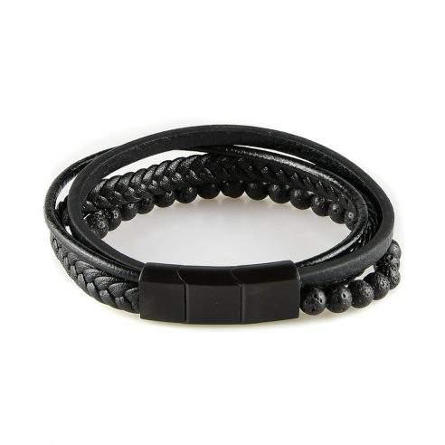 Bracelet pour homme composé de trois lanières de cuir tressé et lisse noir et de pierres de lave.