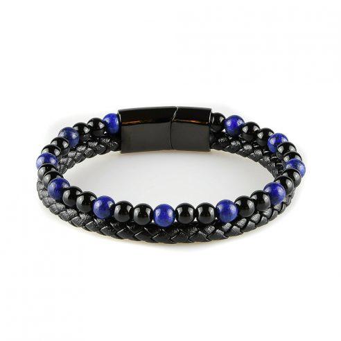 Bracelet pour homme composé d'une lanière de cuir tressé noir et de pierres d'onyx et de lapis lazuli.