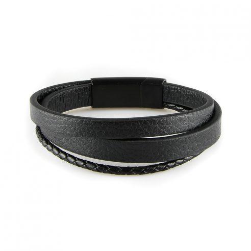 Bracelet pour homme composé d'une lanière de cuir tressé noir et de deux lanières de cuir lisse noir.