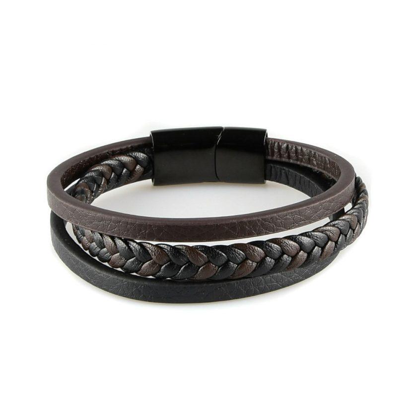 Bracelet pour homme composé d'une lanière de cuir tressé marron et noir et de deux lanières de cuir lisse, l'une noire et l'autre marron.