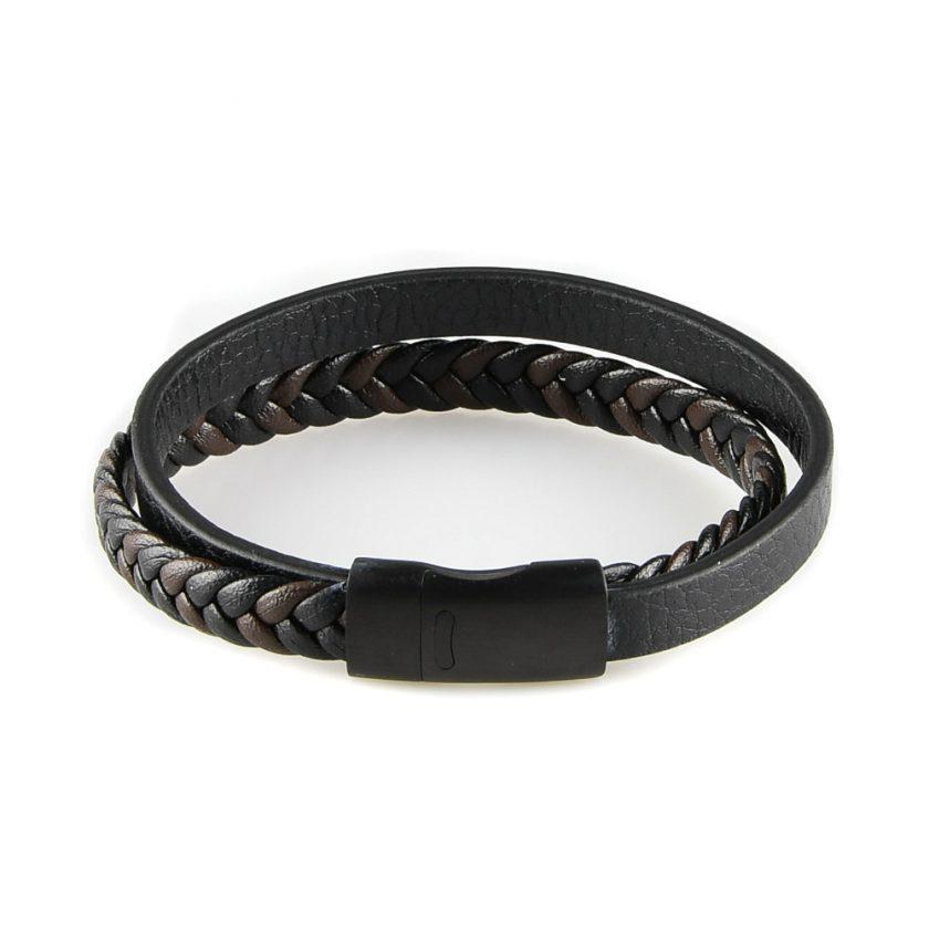 Bracelet pour homme composé d'une lanière de cuir tressé marron et noir et d'une lanière de cuir lisse noir.