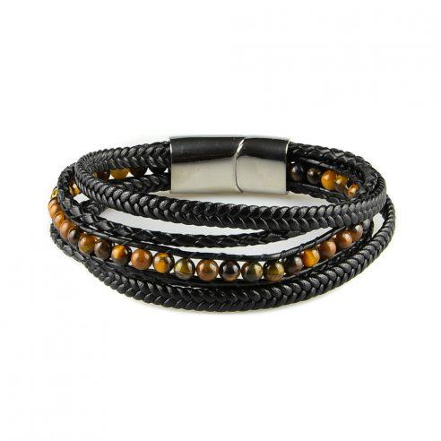 Bracelet pour homme composé de plusieurs lanières de cuir noir lisse et tressé, et de pierres œil de tigre.