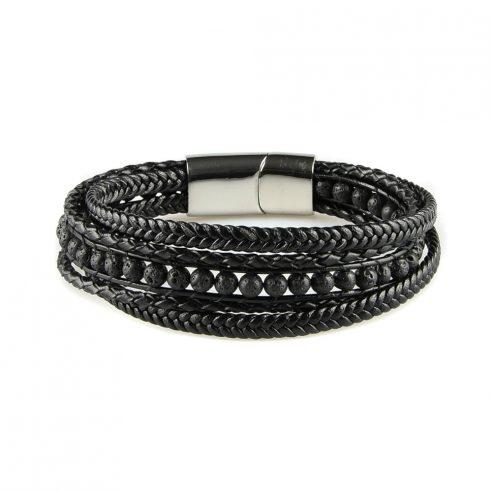 Bracelet pour homme composé de plusieurs lanières de cuir noir lisse et tressé, et de pierres de lave.