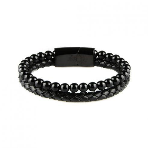 Bracelet pour homme en cuir noir tressé avec des pierres d'onyx.
