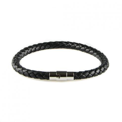 Bracelet pour homme composé d'une lanière de cuir tressé noir et d'un élégant fermoir magnétique en acier inoxydable.