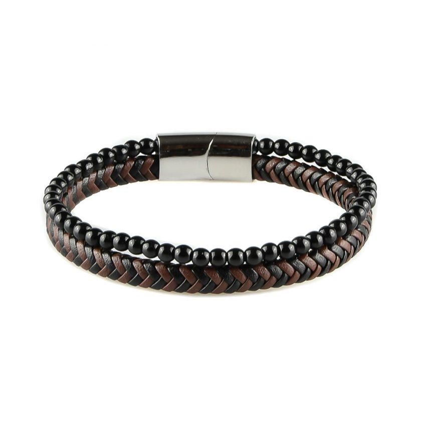 Bracelet pour homme composé d'une lanière de cuir tressé marron et noir et de pierres d'onyx.