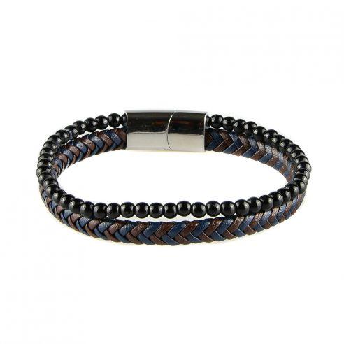 Bracelet pour homme composé d'une lanière de cuir tressé bleu et marron et de pierres d'onyx.